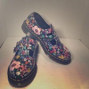 Dr Martens Floral Print Double Buckle Shoes